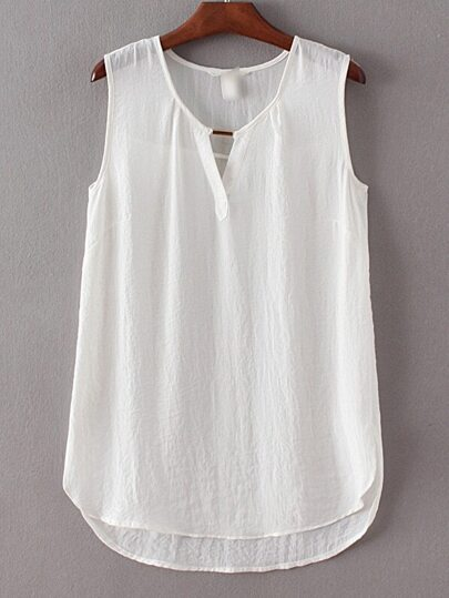White Sleeveless Dipped Hem Split Blouse