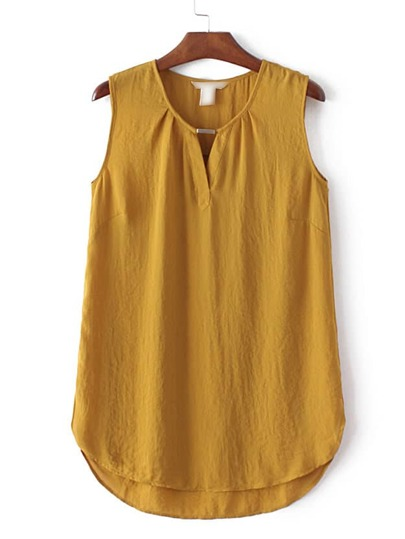 Ginger Sleeveless Dipped Hem Split Blouse