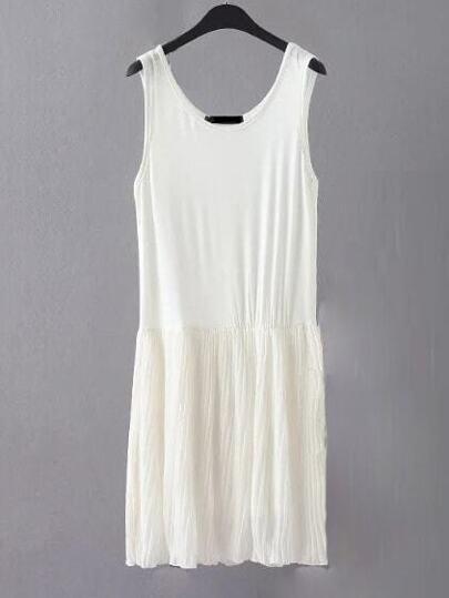 White Sleeveless Pleated Shift Plain Dress