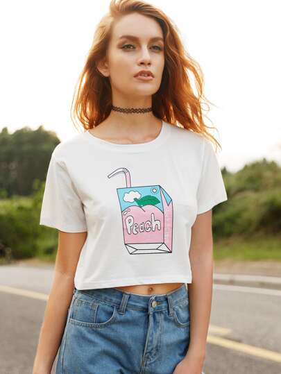 White Box Print Crop T-shirt
