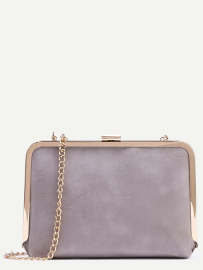 Grey Clip Frame Purse With Chain