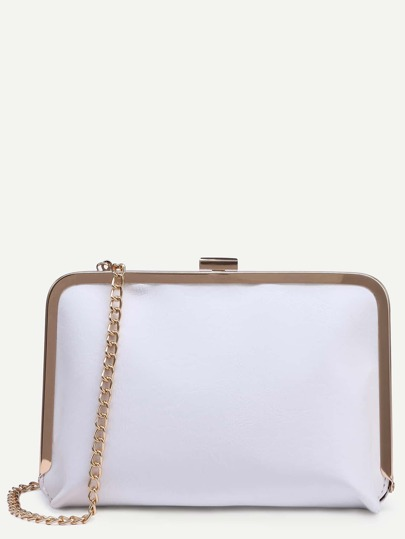 White Clip Frame Purse With Chain