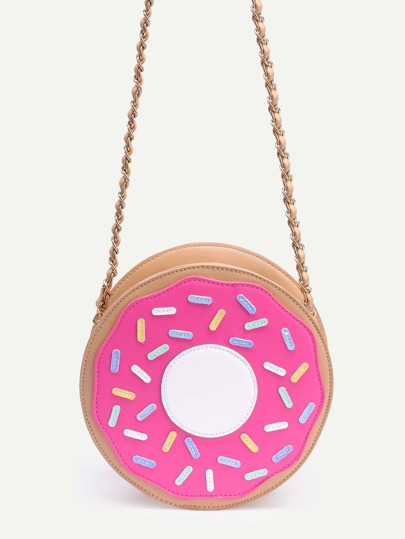 Hot Pink Faux Leather Donut Chain Bag