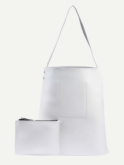 White Bucket Tote Bag With Zip Clutch