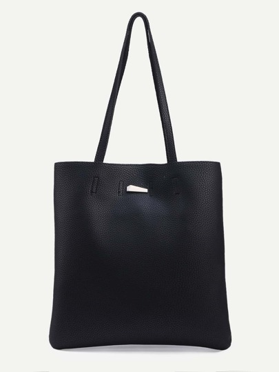 Black Pebbled Faux Leather Tote Bag
