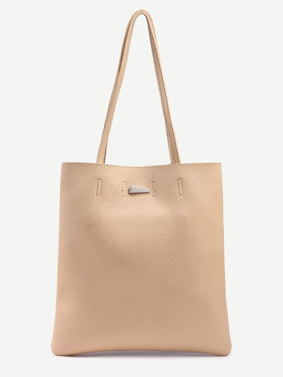 Apricot Pebbled Faux Leather Tote Bag