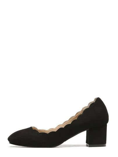 Black Round Toe Scallop Trim Chunky Pumps