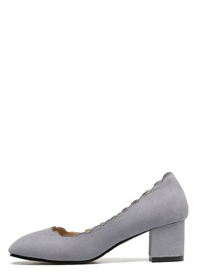 Grey Round Toe Scallop Trim Chunky Pumps