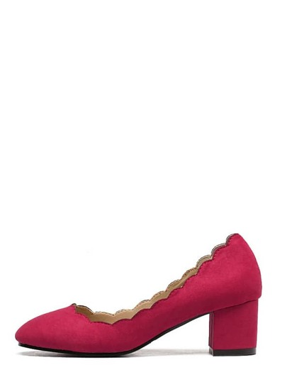 Red Round Toe Scallop Trim Chunky Pumps
