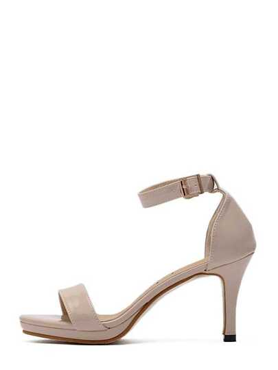 Beige Peep Toe Ankle Strap Stiletto Sandals