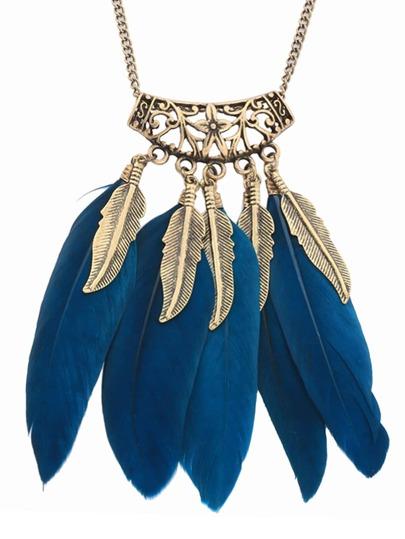 Vintage Leaf Feather Shape Pendant Necklace
