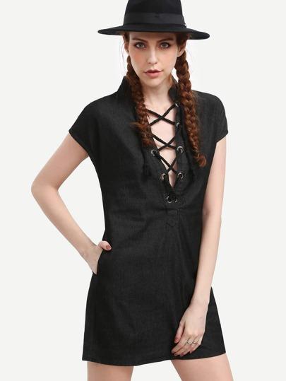 Eyelet Criss Cross Band Collar Black Denim Dress
