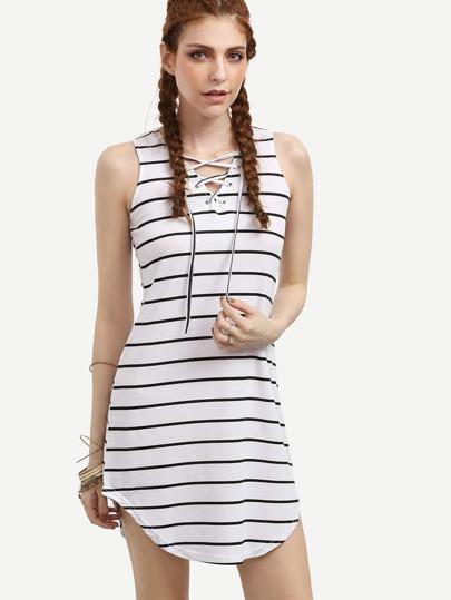 White Striped Eyelet Lace Up Tank Dress