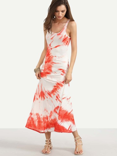 Orange Tie-dye Sleeveless Dress