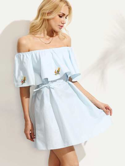 Blue Embroidered Ruffled Off The Shoulder Dress