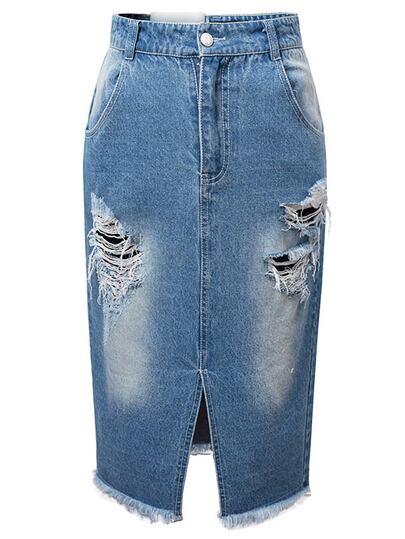 Blue Ripped Split Raw-edge Hem Denim Skirt