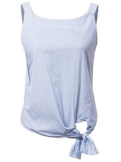 Blue Sleeveless Stripe Hollow Back Bow Blouse