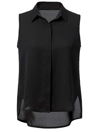 Black Sleeveless High Low Split Side Chiffon Blouse