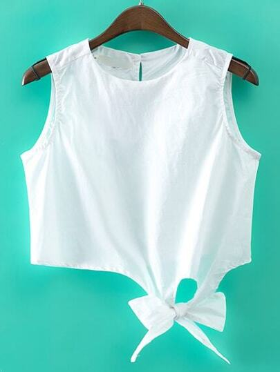 White Key-hole Bow Tie Crop Top