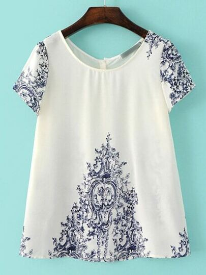 Blue And White Porcelain Button Back Blouse