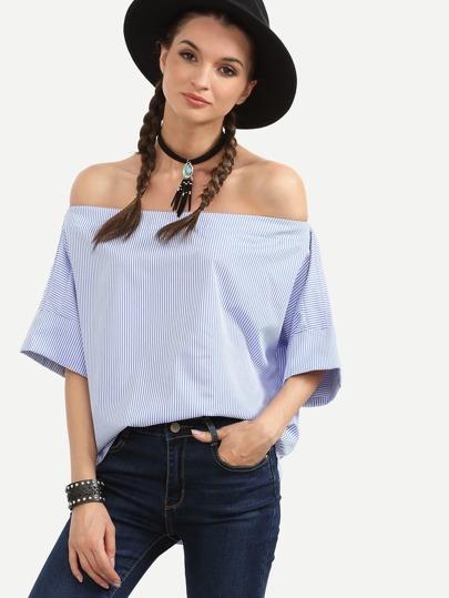 Blue Striped Off The Shoulder Blouse