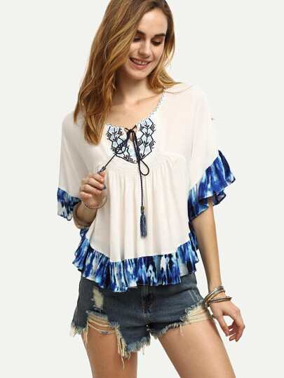 White Tassel Tie Embroidered Tie-dye Ruffle Hem Blouse