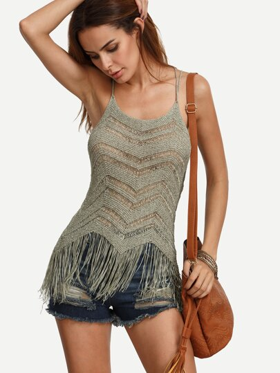 Fringe Hem Knitted Cami Top