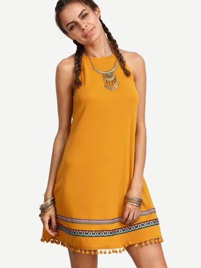Yellow Taped Panel Pom-pom Hem Dress