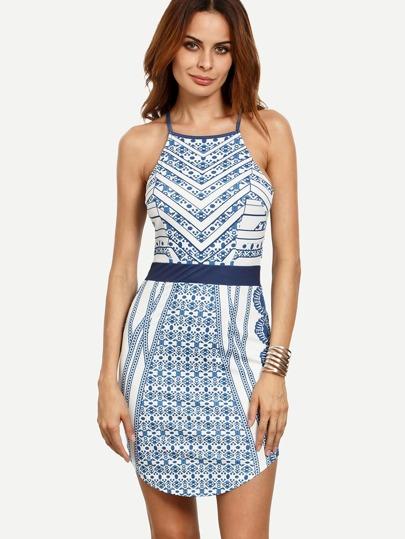 Multicolor Print Spaghetti Strap Asymmetrical Hem Dress