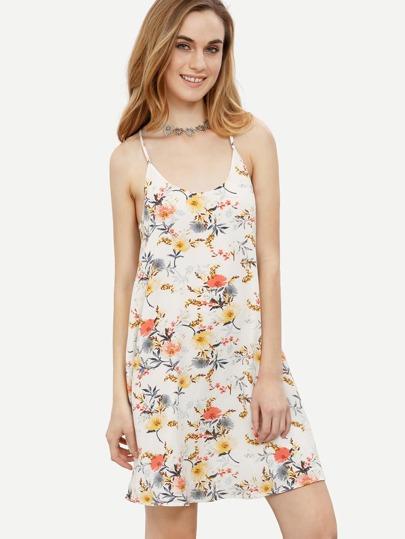 Multicolor Floral Spaghetti Strap Shift Dress