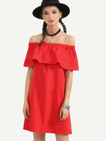 Red Elasticated Ruffle Off The Shoulder Dress