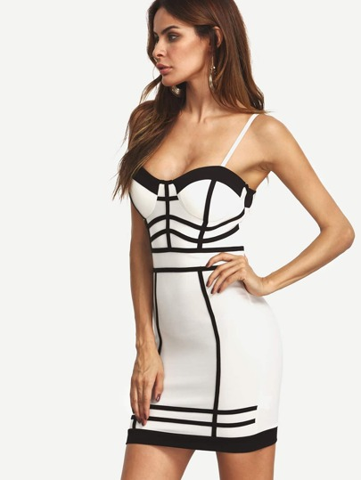 Black and White Spaghetti Strap Zipper Back Bandage Dress