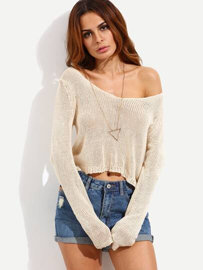 Apricot Long Sleeve High-low Knitted T-shirt