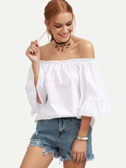 White Ruffled Off The Shoulder Blouse