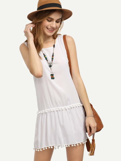 White Pom Pom Trim Sleeveless Dress