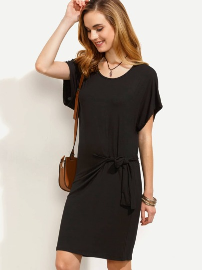 Plain Black Drop Shoulder Knotted Dress