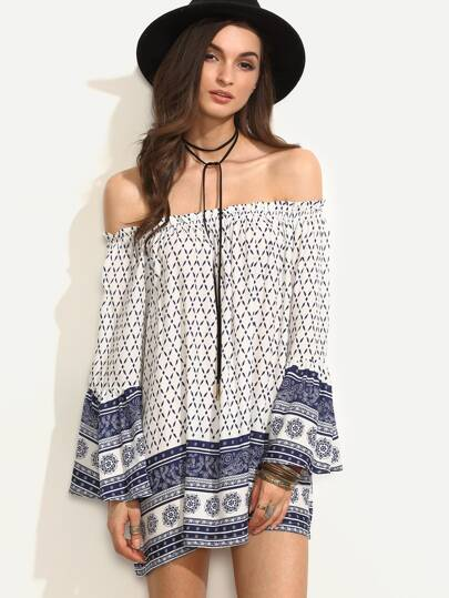 Tribal Print Off The Shoulder Bell Sleeve Ruffle Dress