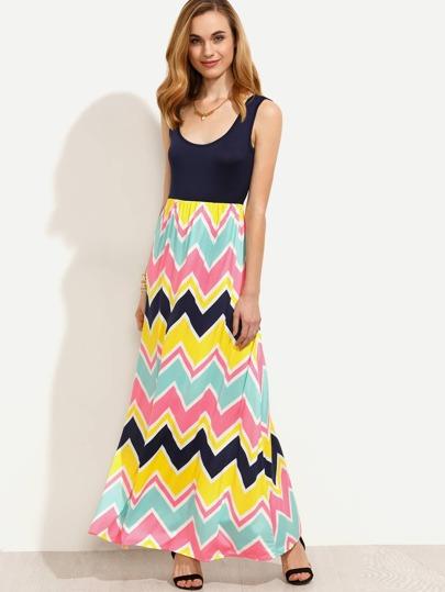 Multicolor Chevron Print Tank Dress