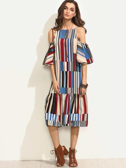 Colorful Printed Cold Shoulder Ruffle Dress