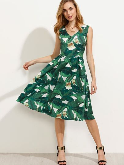 Green Tropical Print Sleeveless A Line Dress