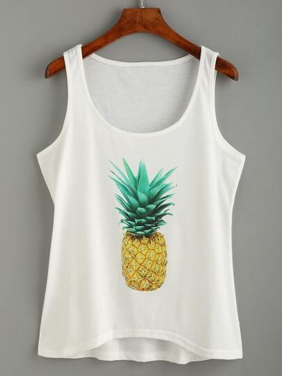White Pineapple Print Tank Top