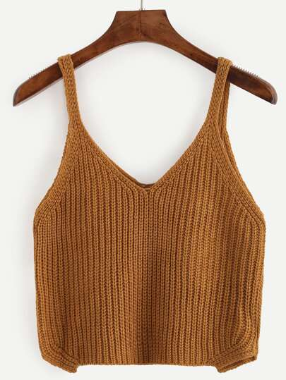 Brown Crop Knitted Cami Top