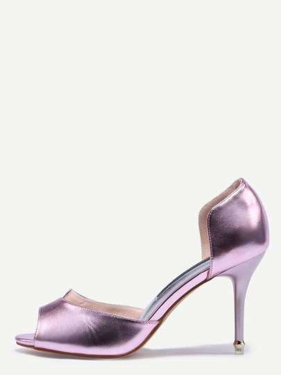 Metallic pink Block Mule Stiletto Heels