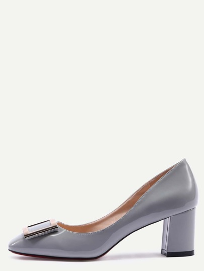 Grey Square Toe Metal Decorated Chunky Pumps