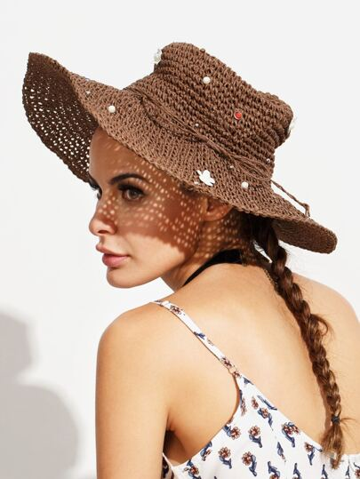 Coffee Bow Pearl Flower Large Brimmed Straw Hat