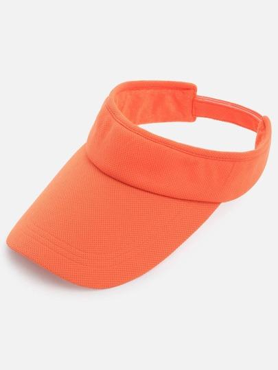 Orange Long Bill Cotton Visor Cap