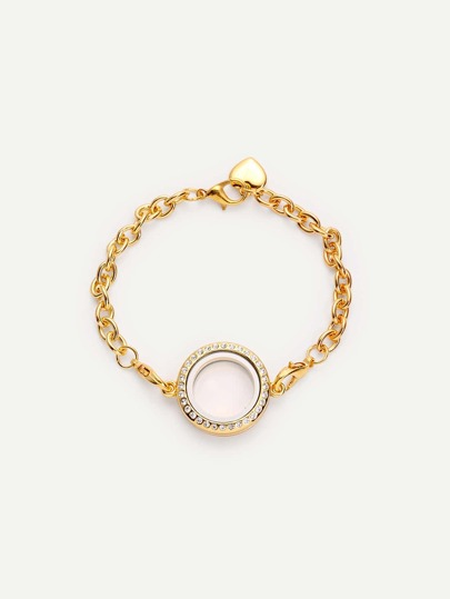 Golden Heart-shaped Geometric Diamond Bracelet