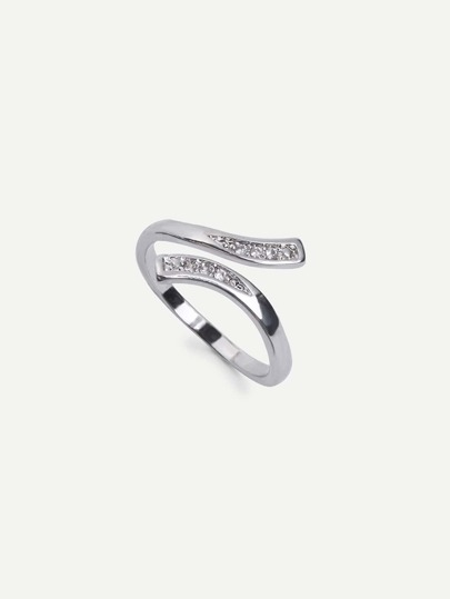 Silver Diamond Bent Shaped Adjustable Cuff Ring