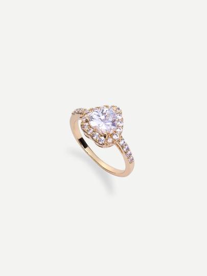 Golden Heart-shaped Diamond Ring