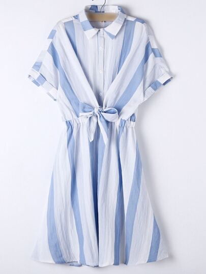 Blue Lapel Roll-up Cuff Bow Stripe Dress